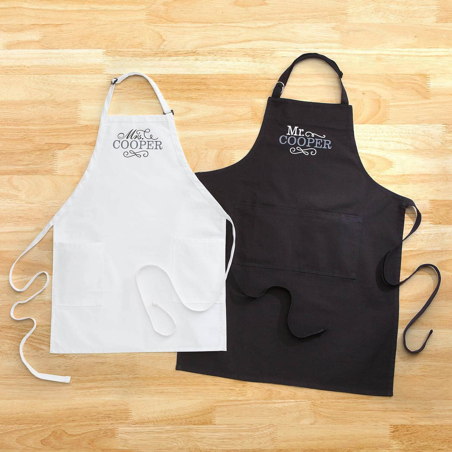 Mr. and Mrs. Personalized Apron Gift Set