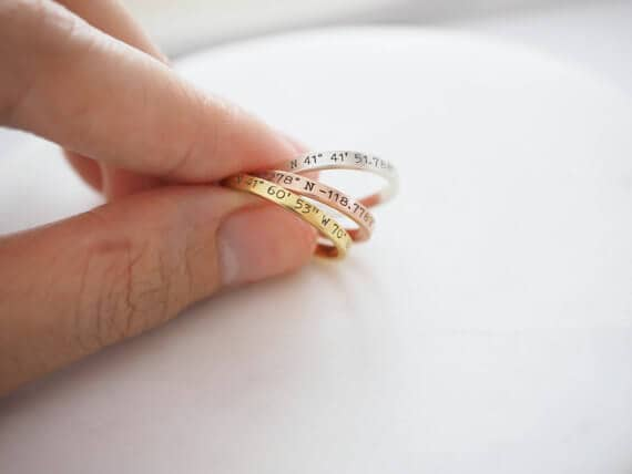 Small Stackable Personalized Coordinates Ring