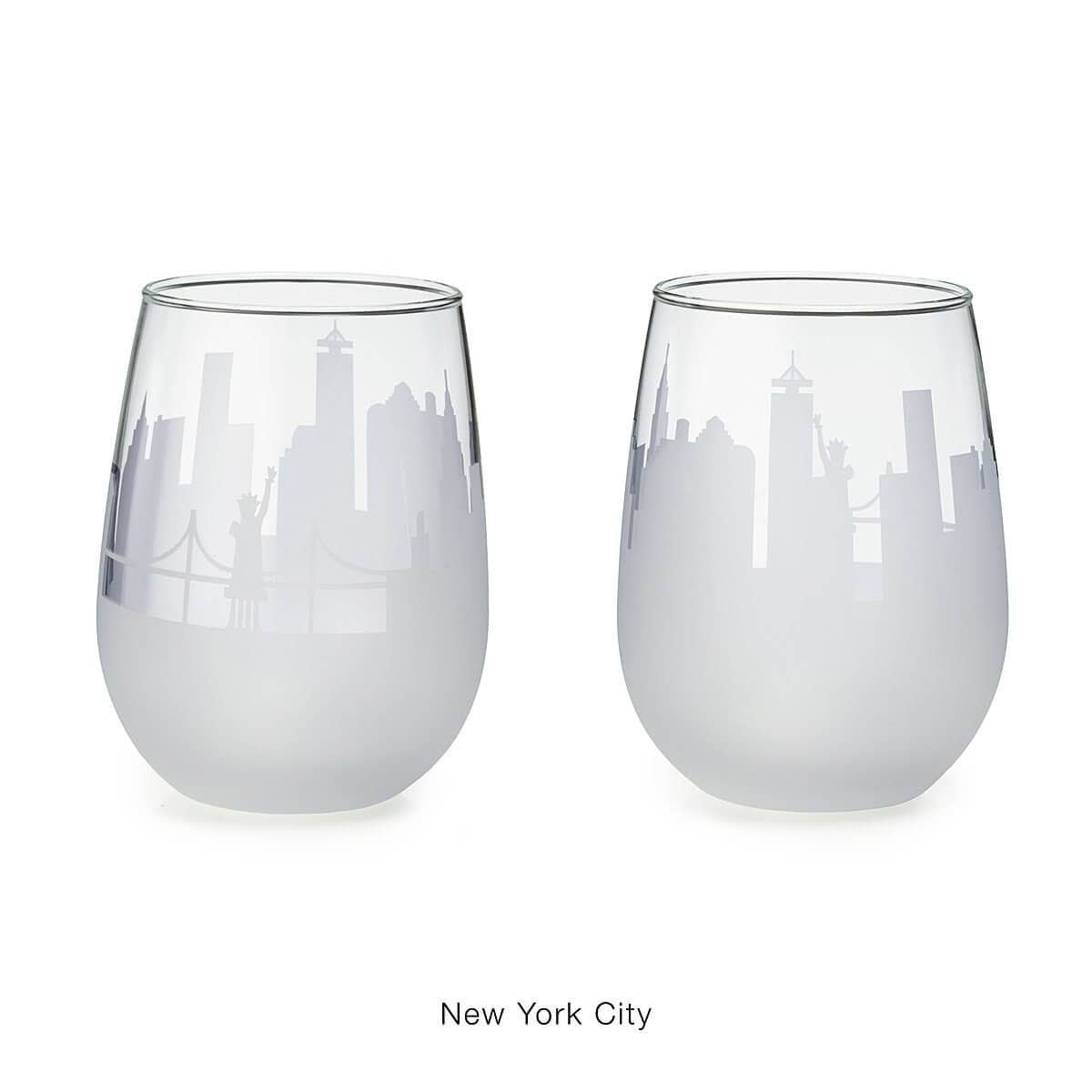 Set of 2 Etched Skyline Wine Glasses