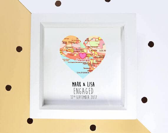 Personalized Heart-shaped Map Engagement Gift