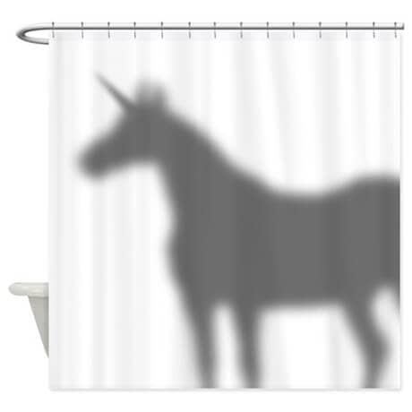 Unusual Shower Curtain with Unicorn Shadow