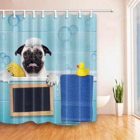 Pug Bathing Shower Curtain Gift Option