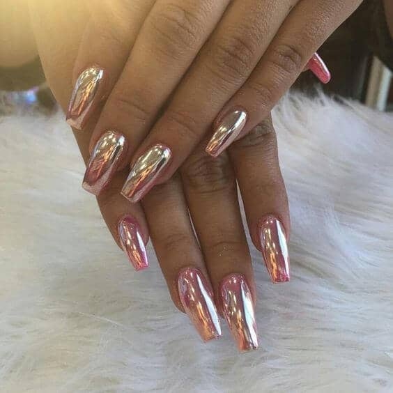 Standout Nails in Pink Gold Chrome