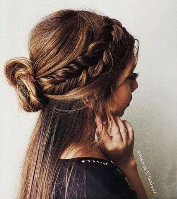 Side Swept Hair with Messy Bun
