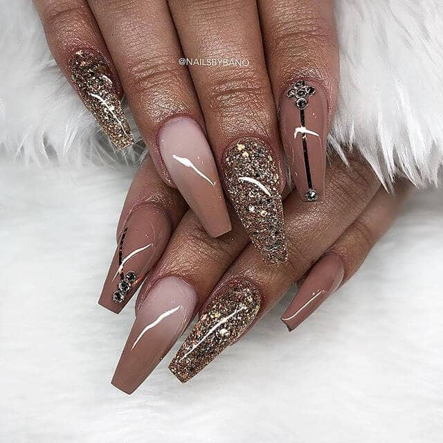 High Gloss Gold and Tailored Rhinestone Nail Art