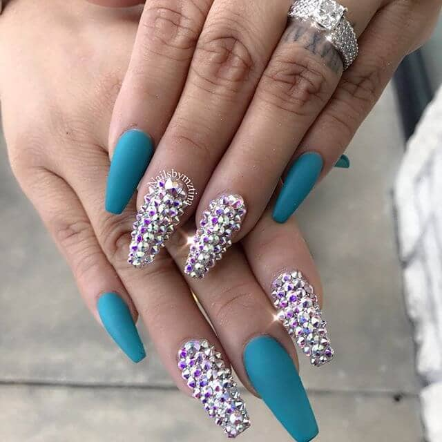 Turquoise Studs Weekend Nail Design