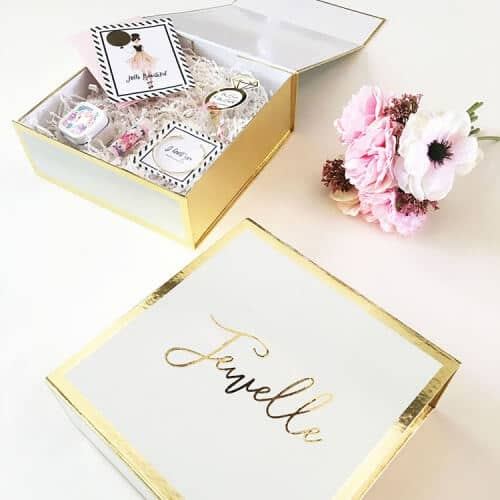 Black or White Gold-Lettered Personalized Gift Box