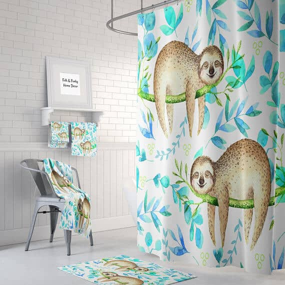 The Sloth Unusual Shower Curtain Gift Idea