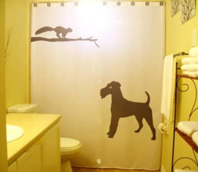 Irish Terrier and Cat Shower Curtain Gift