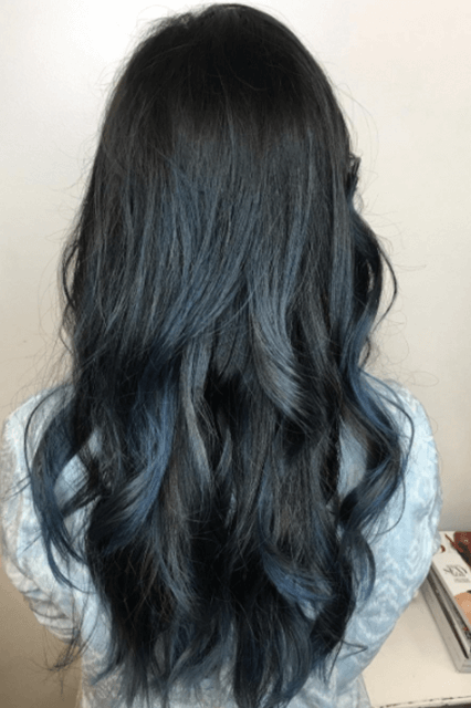 Dark Hair Subtle Blue Streaks