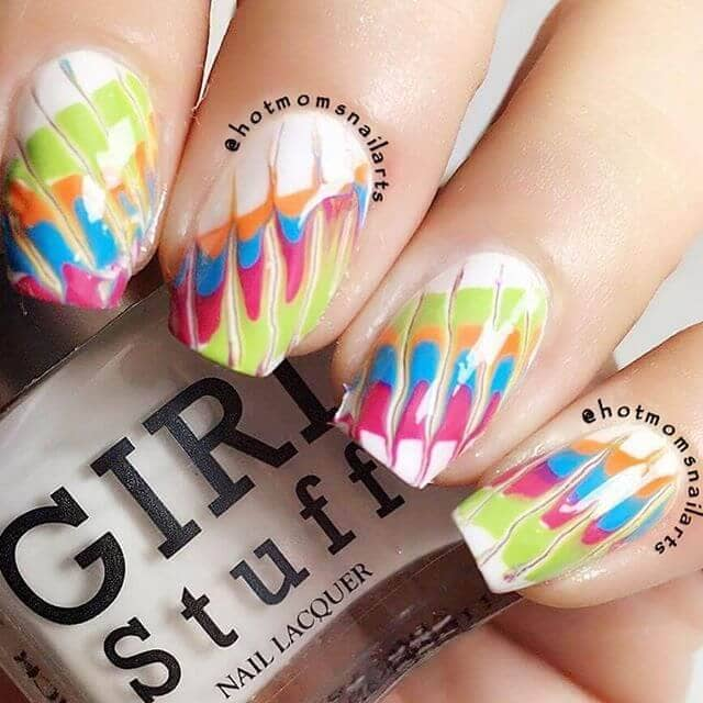 12) Tie Dyed and Marbled Birthday Nails - 50 Sweet Birthday Nails To Brighten Your Special Day