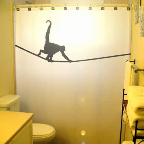Tightrope Monkey Silhouetted Shower Curtain