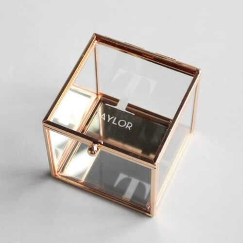 Elegantly Etched Glass and Gold Jewelry Box