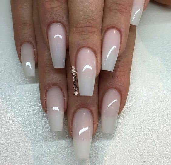 Ombre Pink and White Coffin Nail Design<