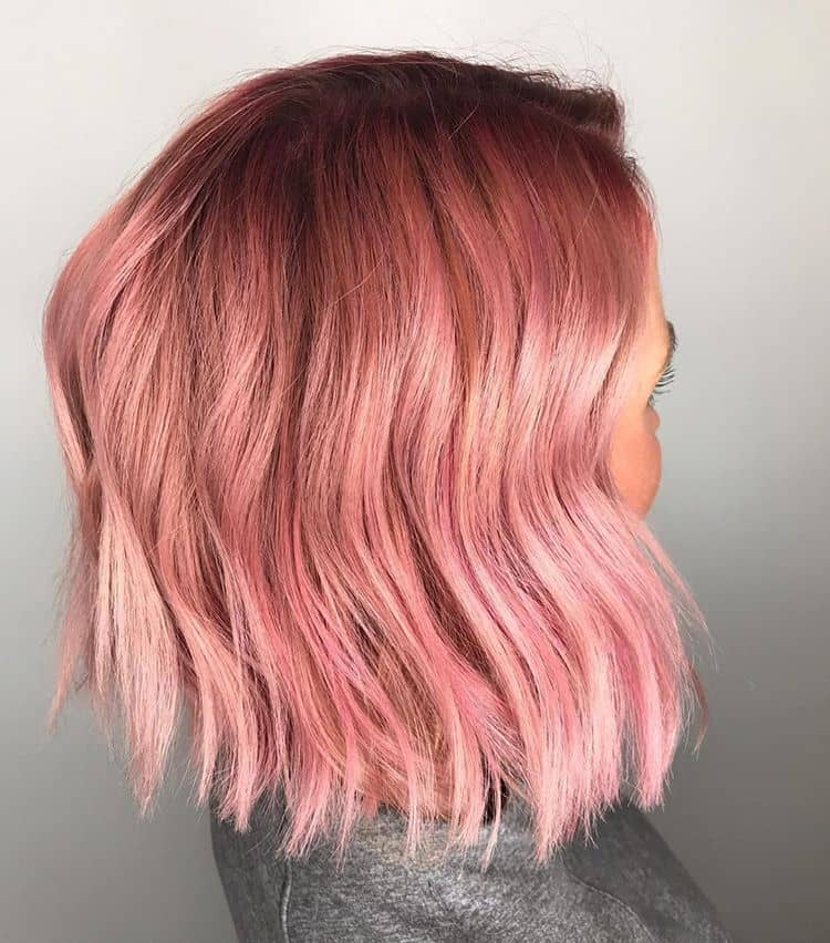 Shimmery Pink Hair Color in Choppy Bob