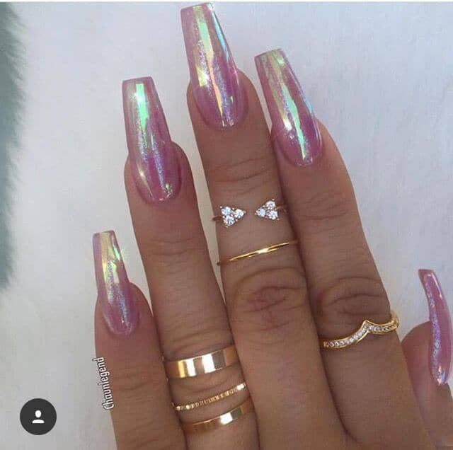 Iridescent Pink Unicorn Nails with Sparkle