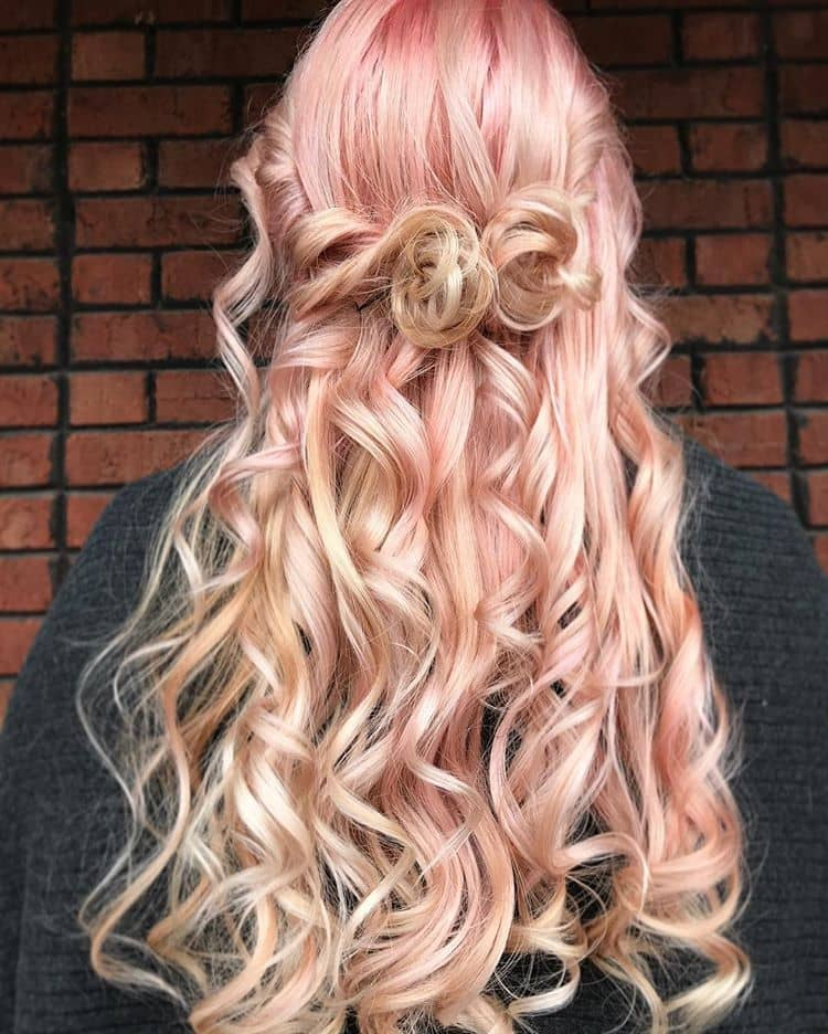 Long Curly Blonde Hairstyle With Pink Ombre