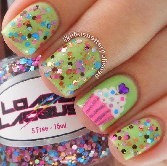 Sweet Cupcake Nail Design with Glitter
