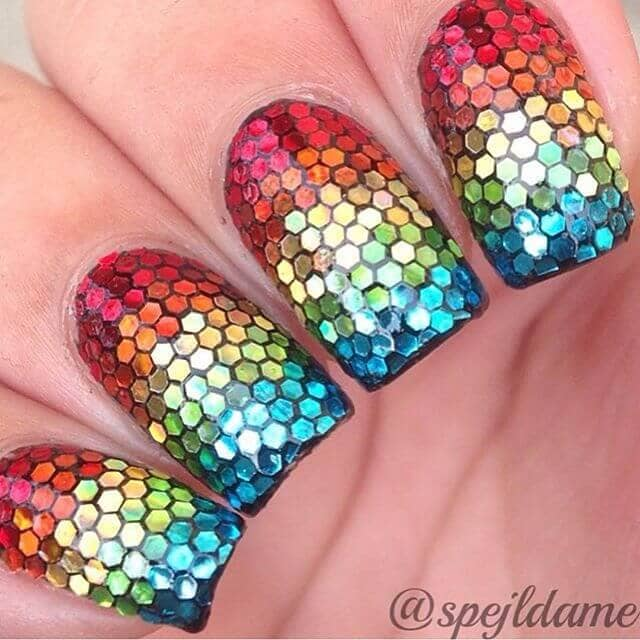 Amazing Rainbow Nails with Glitter