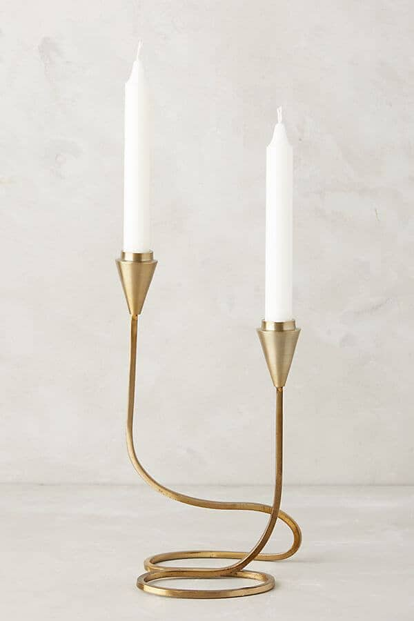 Gold Metal Cursive Candlestick Holders