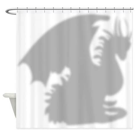 Dragon Shadow and Silhouette Shower Curtain