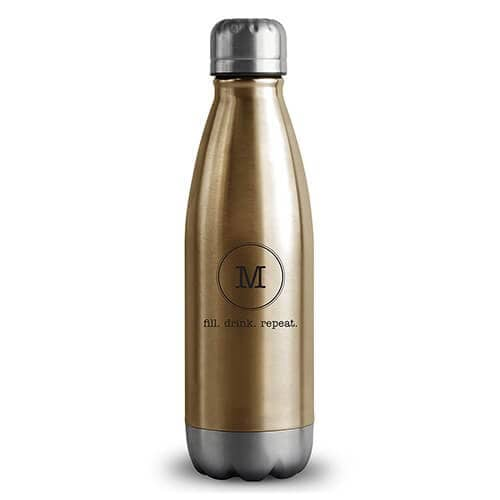 Gold Monogrammed Insulated Water Bottle