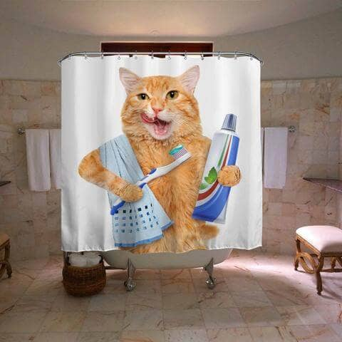 Teeth Brushing Cat Curtain for the Bathroom