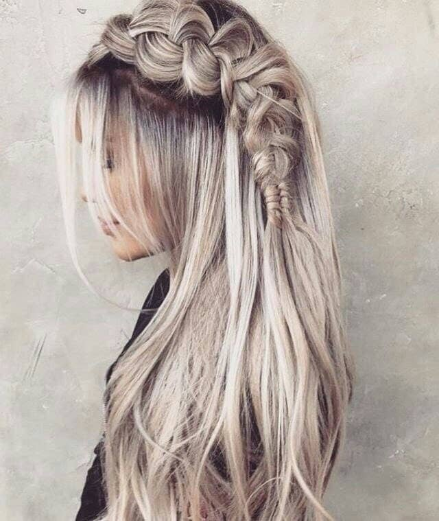 Stunning Platinum Blonde Side Braid