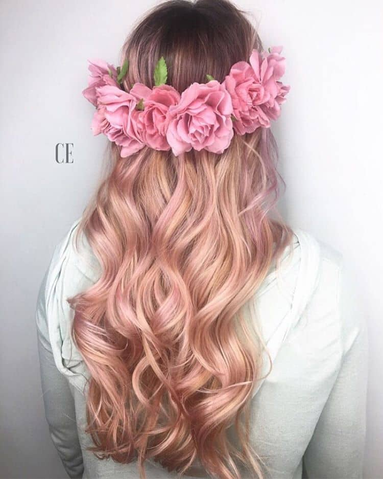 Romantic Rose Pink Hair in Long Curls