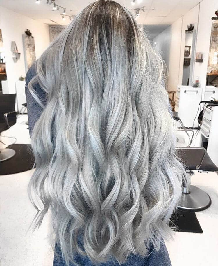 Long Silvery Platinum Blonde Curls