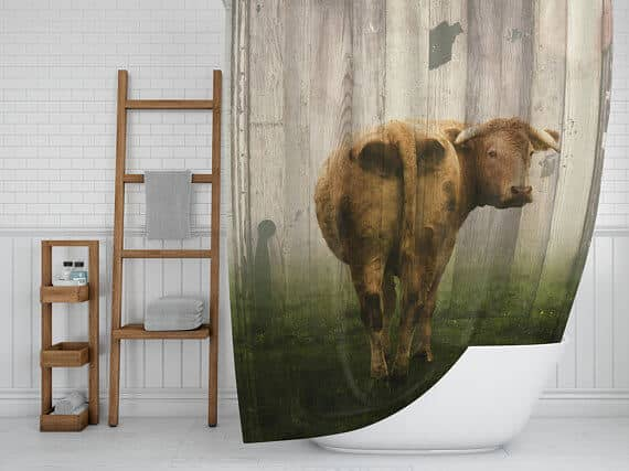 Rustic and Farmhouse Style Shower Curtain with Cow