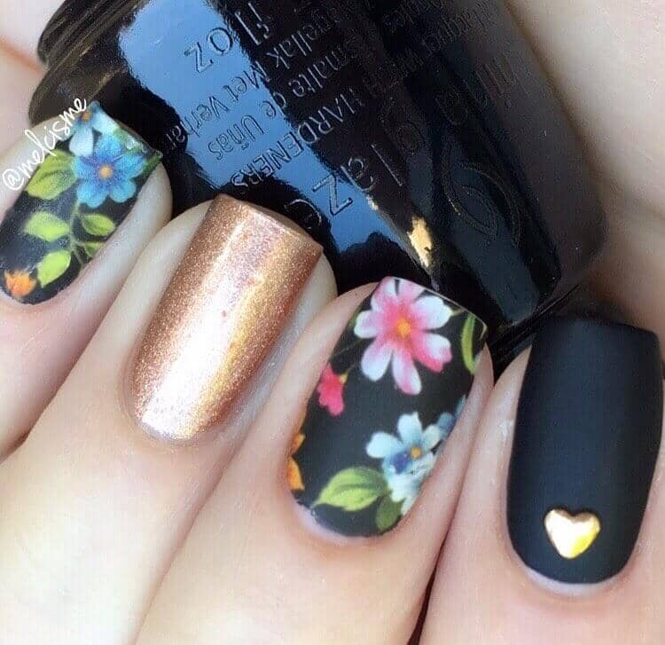 Hand Painted Blossoms and Golden Accents