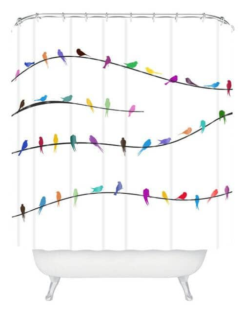 Simplistic Colorful Birds Shower Curtain