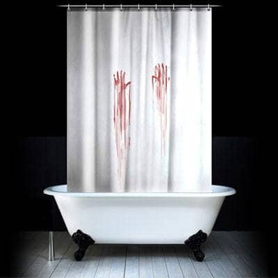 Creepy Handprints Shower Curtain with Blood
