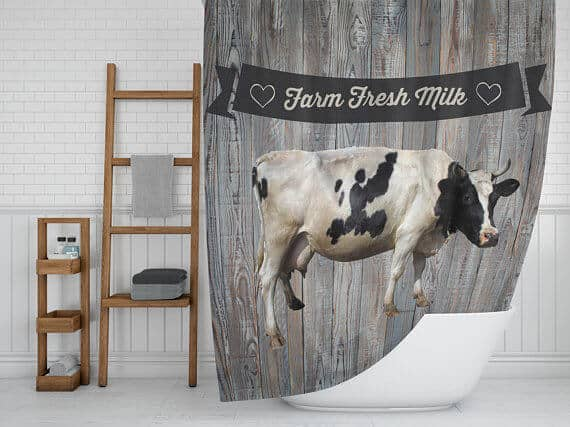 Rustic Cow with Farm Milk Sign Shower Curtain
