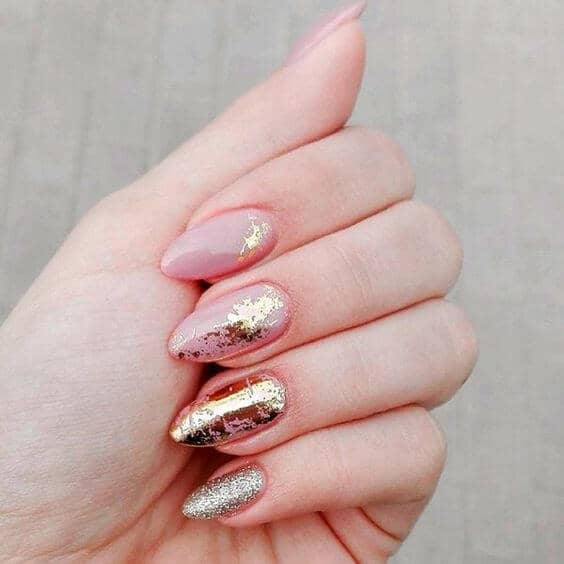Chrome Splashed Pink Nails with Glitter