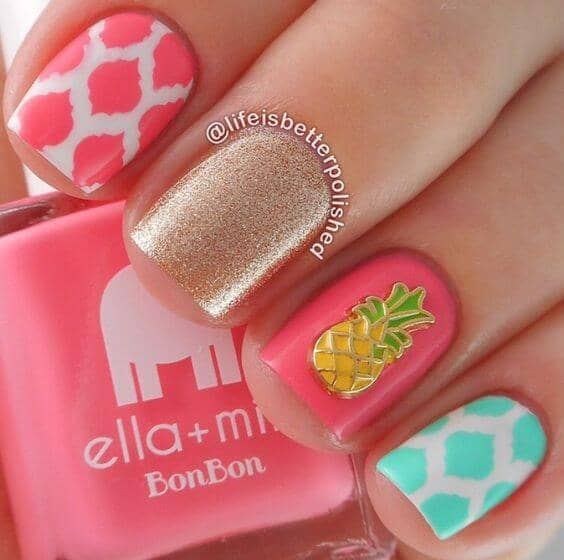34) Summer Sunshine Nails with Pineapples - 50 Sweet Birthday Nails To Brighten Your Special Day