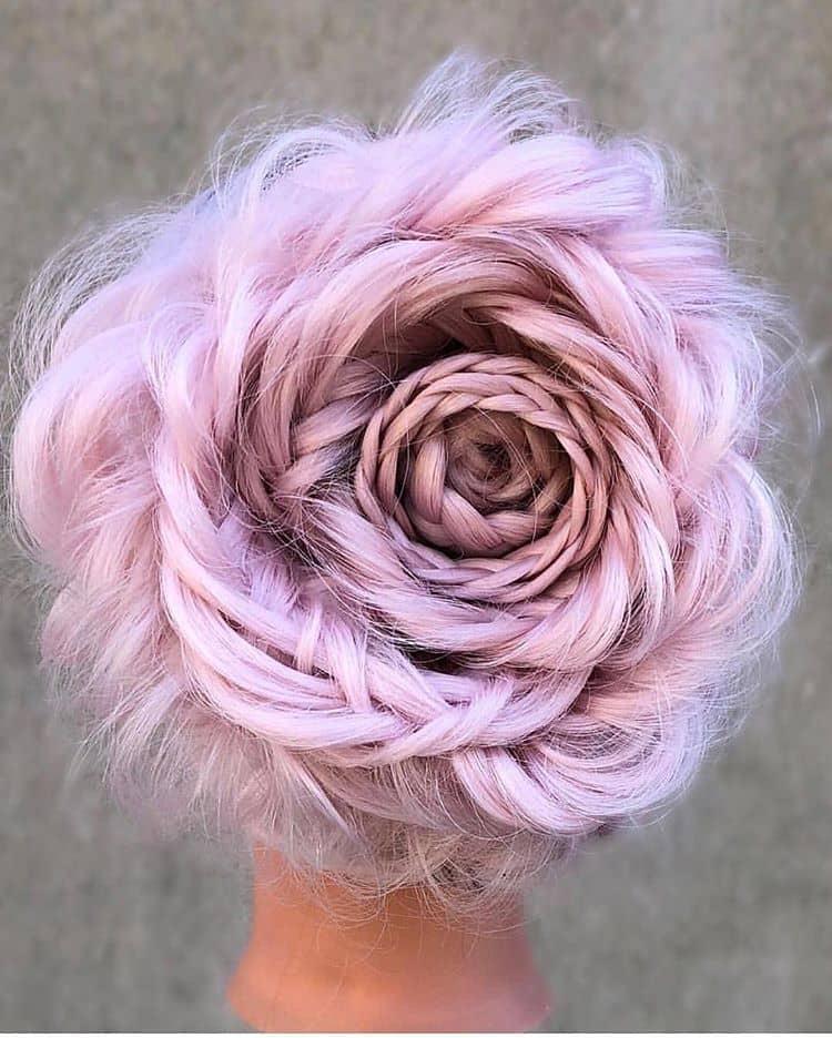 Stunning Baby Pink Braided Floral Bun