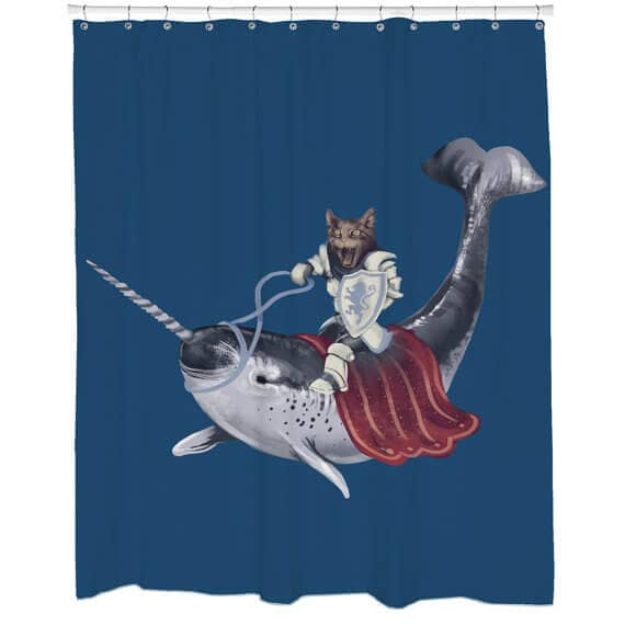 Interesting and Quirky Cat and Whale Shower Curtain