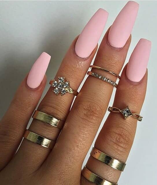 34 Matte Pink Cotton Candy Long Coffin Nails