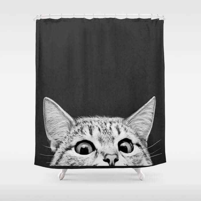 Peeping Tom Cat Shower Curtain