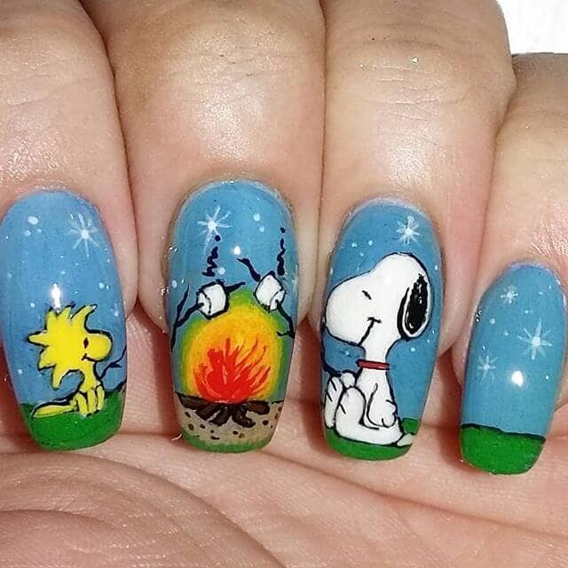 Snoopy and Woodstock at a Campfire