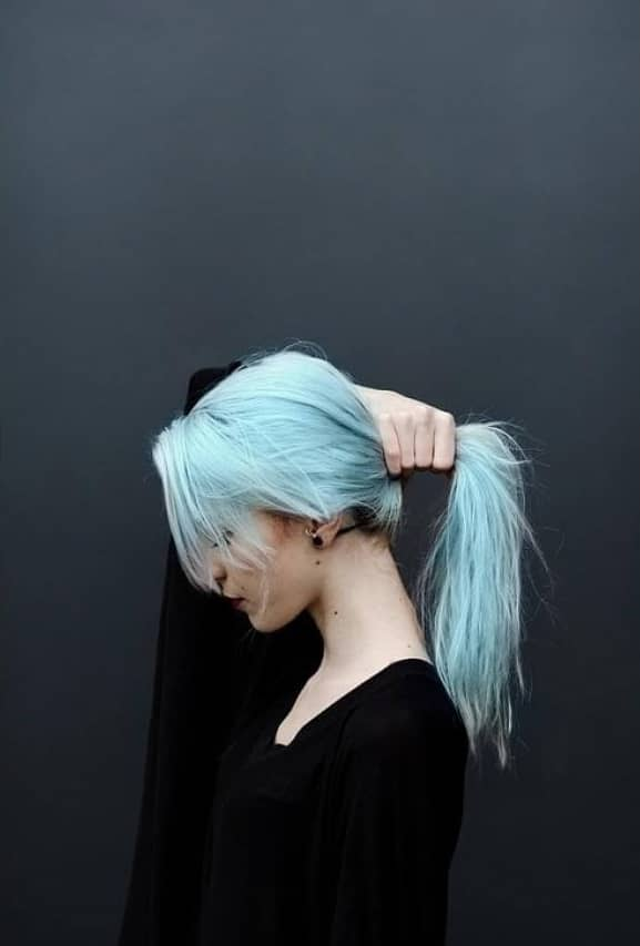 Light Pastel Blue Colored Hair
