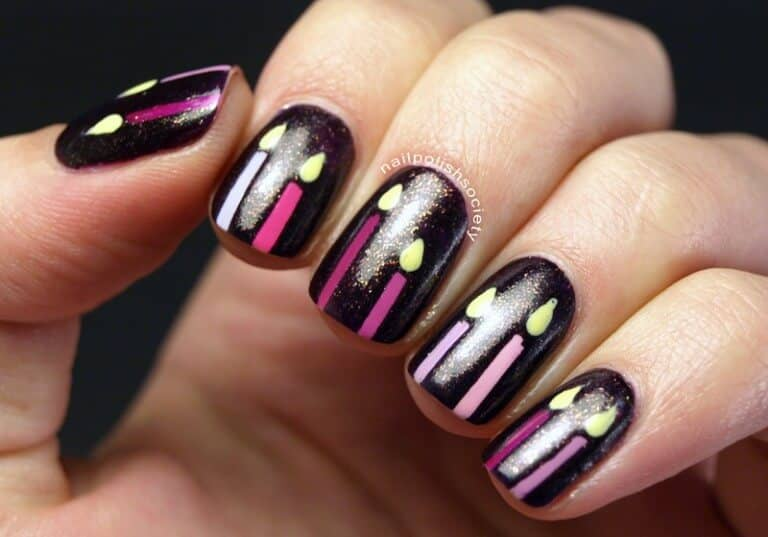 Rich Purple Nails with Shining Candles