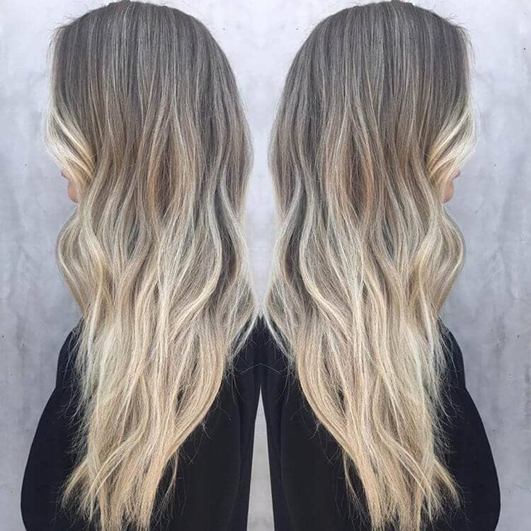 Long Layered Ash Ombre Blonde