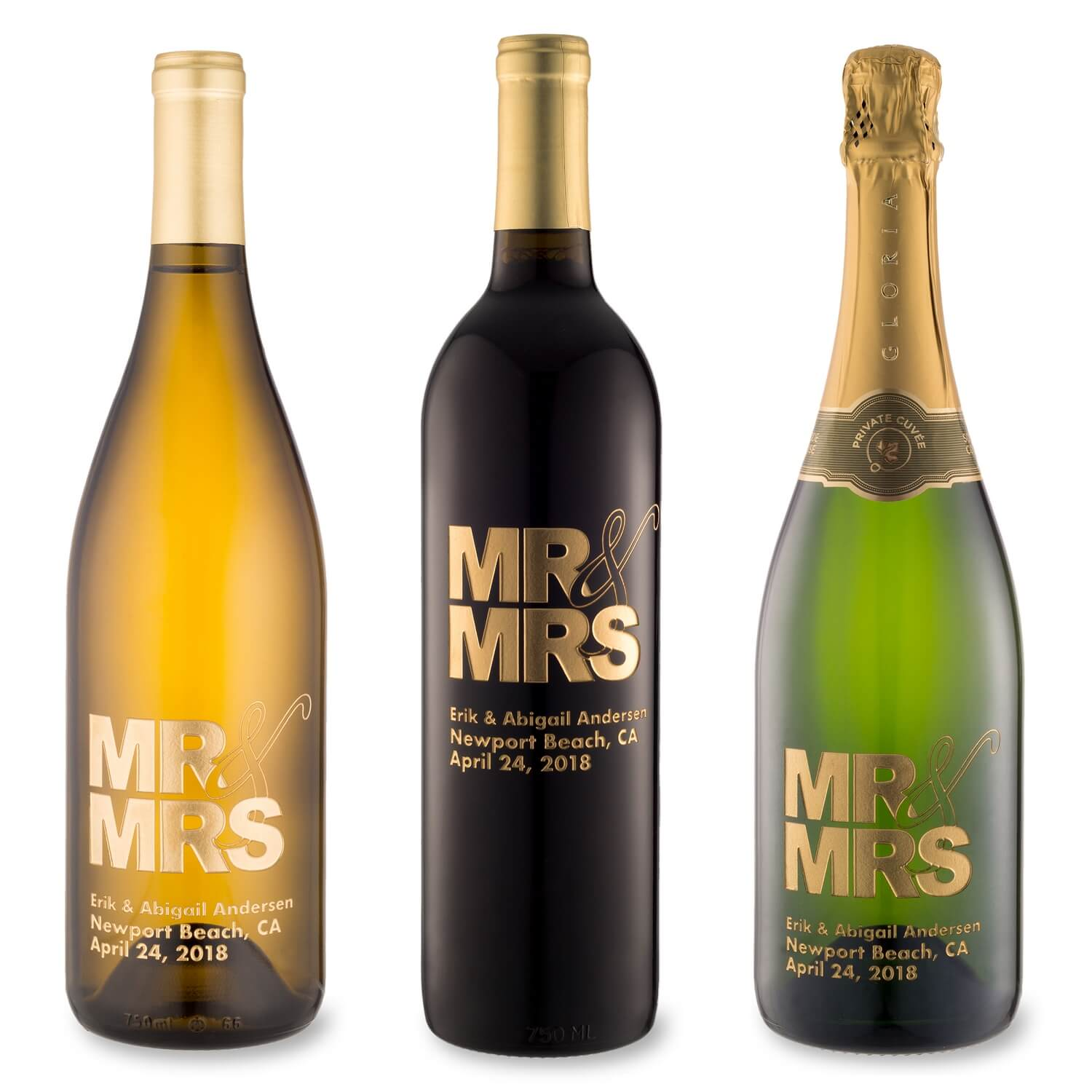 Mr. and Mrs. Etched Wine Bottle