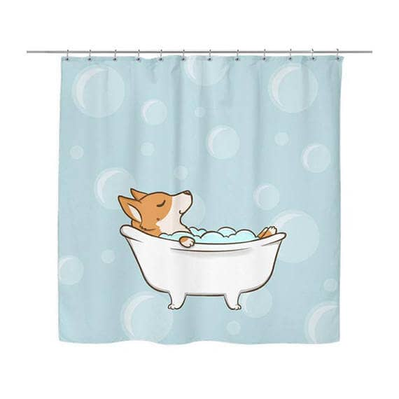 Adorable Corgi Bathing Shower Curtain Design