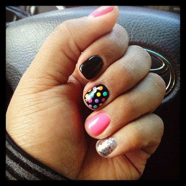 Polka Dots and Glitter Nails