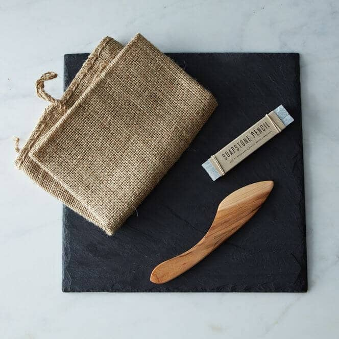 Slate Cheese Board, Knife and Soapstone Pencil Set