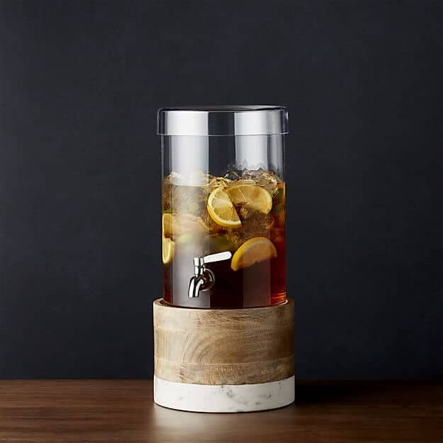 Cold Drink Dispenser with Wood Marble Stand